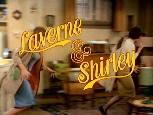 Laverne and Shirley race to work as the series logo appears.