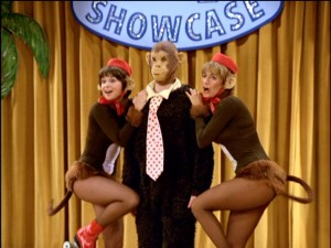 Laverne and Shirley monkey around with their formidable boss' useless nephew.