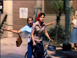 Laverne and Shirley ride down the street at the end of the show's memorable intro.