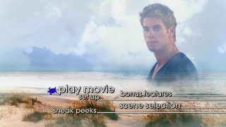 Liam Hemsworth is a V-necked superstud in the sky montage of the DVD's sea turtle-cursored main menu.