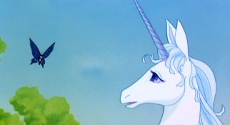 The last unicorn (voiced by Mia Farrow) gets some questionable guidance from this loopy butterfly (voiced by Robert Klein).