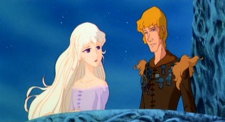 Prince Lir (voiced by Jeff Bridges) is charmed but resisted by Lady Amalthea, the titular unicorn in human form.