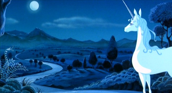 "The world's last unicorn looks at the horizon, rising, up to meet the purple dawn in the Rankin/Bass 1982 fantasy feature film ""The Last Unicorn."""