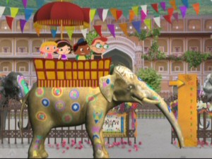 Now big and fully decorated for the parade, the once little elephant gives his friends a roomy ride up top.