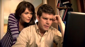 Jenny (Katie Aselton) takes an active interest in the management of her husband Kevin's (Stephen Rannazzisi) fantasy football team.