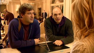 Pete (Mark Duplass) and Andre (Paul Scheer) hear about the activities planned for their anniversary spa getaway weekend ordered pre-separation.
