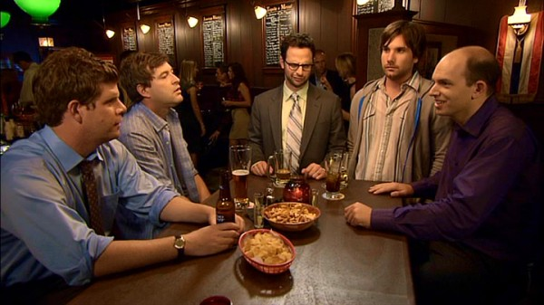 "At their favorite bar, the guys of ""The League"" (left to right: Stephen Rannazzisi, Mark Duplass, Nick Kroll, Jon LaJoie, and Paul Scheer) discuss the distinctions of their friendship."