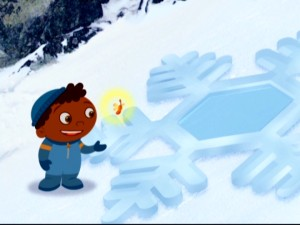 A baby flying violin fairy helps Quincy tread Alaska's Mount McKinley by avoiding slippery snowflakes.