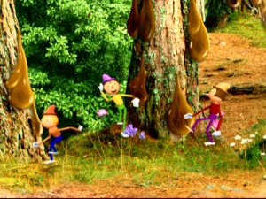 These three theatrical puppets get stuck in some sticky tree sap.