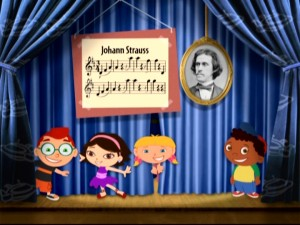 Only the Little Einsteins would crack smiles this big at the sight of Johann Strauss and his Blue Danube Waltz sheet music.