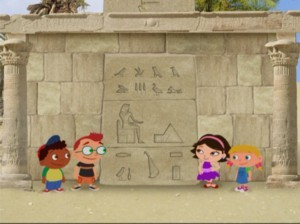 The Little Einsteins come across a door with hieroglyphics, telling the story of a Pharaoh who trapped music in the Golden Pyramid!