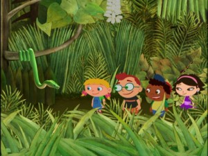 The gang encounters a snake in the tropical rain forest. Where's Samuel L. Jackson when you need him?