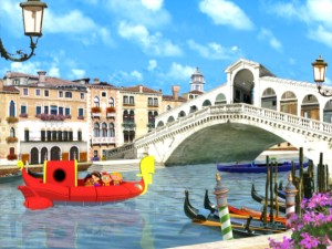 Rocket transforms into a gondola when the kids go to Venice, Italy.