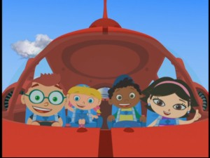 Left to right: Leo, Annie, Quincy, and June, all inside their pet ship, Rocket.