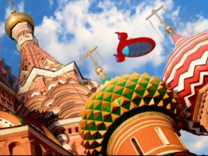 Rocket flies over St. Basil�s Cathedral freely as it seems all of Russia has been vacated at this point.