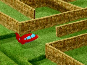 Rocket finds himself, and the children, blocked by a hedge maze so terrible, one apparently can't even fly over it.