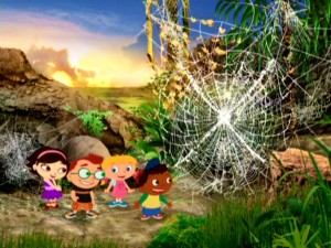 The Little Einsteins gang admires a spider web large enough to trap all four of them.