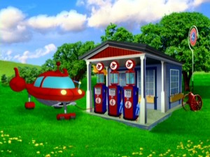 "Rocket fills himself up with musical gas in ""Super Fast!"". Not only are the station workers missing, but Rocket doesn�t seem to be affected by rising gas prices."