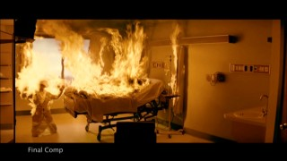 "The different layers of a hospital fire effects sequence are broken down in ""The Art of Special Effects."""