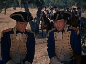Colonel Francis Marion (Leslie Nielsen) and Major Peter Horry (Myron Healey): They look the part of 18th Century American troops, but do they act it?