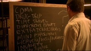 Sam fills a chalkboard with possible theories for his temporal relocation back to 1973.