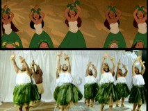 "You may notice some similarities between the moves of Lilo's hula group and Mark Keali'i Ho'omalu's dancers in this splitscreen from ""Animating the Hula."""