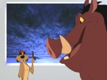 "Timon and Pumbaa in the Find Out Why short ""Why Is There Thunder & Lightning?"""