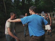 Actors Matthew Fox and William Mapother practice a hodgepodge, feral form of fight choreography for an upcoming scene.