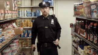 The cop uniform Louie wears for a Matthew Broderick movie raises people's expectations of him when he witnesses a convenience store robbery.