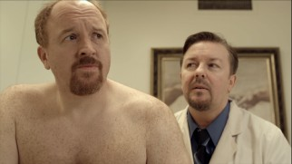 Ricky Gervais needn't stifle his take-ruining cackle, incorporating it into Dr. Ben's highly unprofessional office manner.
