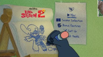 Stitch illustrates his good and bad levels on the animated Main Menu screen.