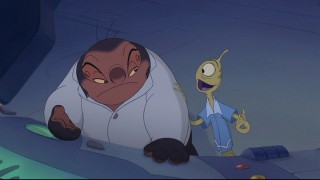 Pleakley tries to cheer up Jumba, who is worried about Stitch's technical shortcomings.