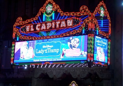 The marquee at Disney's El Capitan Theatre in Hollywood