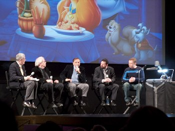 Renowned animation historian/animator John Canemaker (far left) hosts a discussion panel before the screening, with (from left) Stan Freberg, Richard Sherman, Theo Gluck, and Andreas Deja.