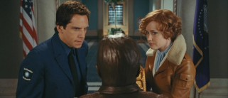 Larry Daley (Ben Stiller) and Amelia Earhart (Amy Adams) consult a Teddy Roosevelt bust for help in deciphering the Tablet of Ahkmenrah.