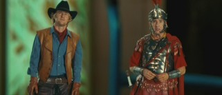 Miniature figurines Jedediah (Owen Wilson) and Octavius (Steve Coogan) aren't thrilled at being shipped to the Smithsonian Institute.