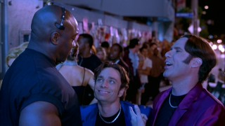 No...yes! Brothers Doug (Chris Kattan) and Steve Butabi (Will Ferrell) try a jokey approach to get entrance from the Roxbury Bouncer (Michael Clarke Duncan).