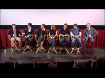 Even Tommy Lee Jones shows up for this LA WGAW Q & A Panel. Appearing left to right are host Noah Baumbach, Joel Coen, Ethan Coen, Kelly Macdonald, Josh Brolin, Javier Bardem, and Mr. Jones.