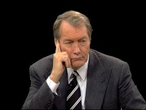 Charlie Rose listens very intently to one of his four guests discussing the movie.