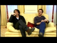 Joel and Ethan Coen try to contain their excitement over the news that their film has just been nominated for four Golden Globe awards.