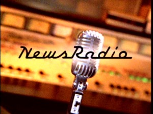 "A microphone is at the center of the title logo used for all ""NewsRadio"" episodes but the pilot."