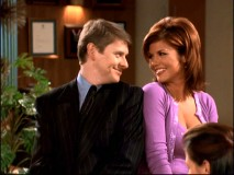 Dave and single-episode assistant Foxy Johnson (Tiffani-Amber Thiessen) get up close and smiley.