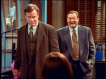 Phil Hartman flubs a line, causing Stephen Root to crack up in the Season 2 gag reel.