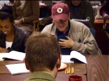 "Khandi Alexander laughs at Phil Hartman's delivery in the table read for ""Space."""