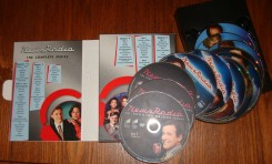 Here's a photograph of The Complete Series DVD's packaging, which places the twelve discs on a spindle in a removable tray.