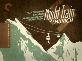 "Criterion's ""Night Train to Munich"" DVD main menu looks an awful lot like its DVD cover, but the illustration is creative enough for that to be okay."
