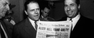 A younger Nixon makes a name for himself by proving Alger Hiss is a communist in one of the film's many sequences resembling vintage news.