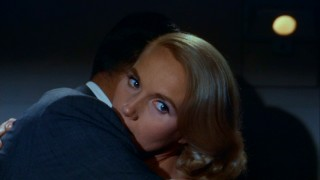Eva Marie Saint is Eve Kendall, a woman whose look here casts some uncertainty upon her allegiance.