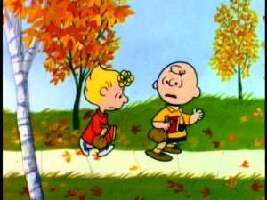 Charlie Brown listens to his sister Sally's locker complaints while walking to school in the fall. Still from Paramount's 2000 DVD - click to view screencap in full 720 x 480.