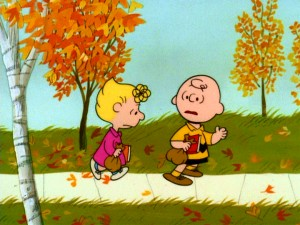 Charlie Brown listens to his sister Sally's locker complaints while walking to school in the fall. Still from Warner's 2008 DVD - click to view screencap in full 720 x 480.
